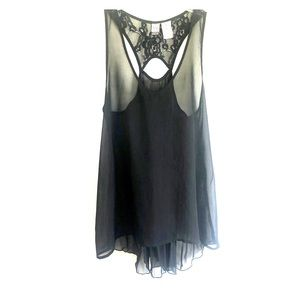 Women's Sheer Black Top, Size Small